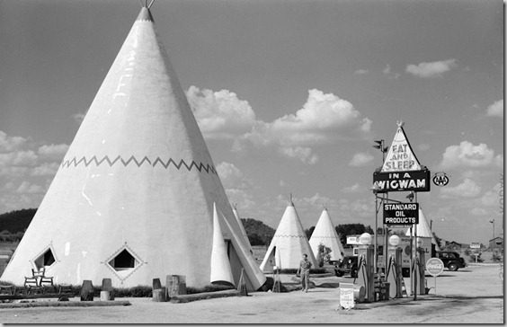 Cabins imitating the Indian teepee