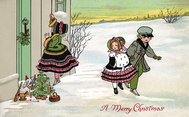 Children leaving gifts on the doorstep of a home on Christmas Eve - a 1912 Vintage Greeting Card Illustration