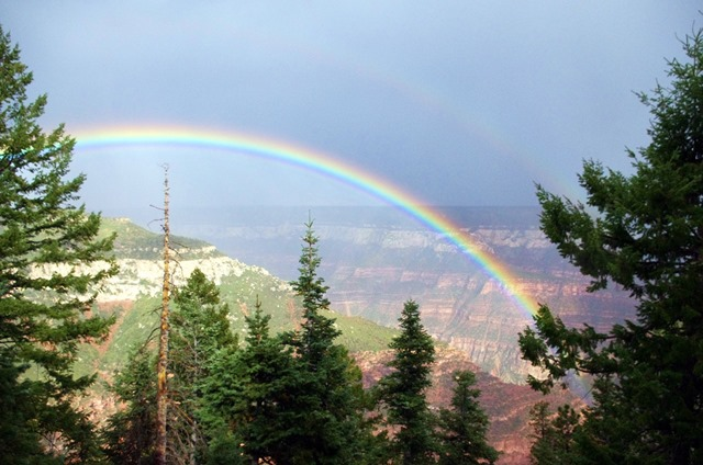 rainbow on the north rim of the grand canyon