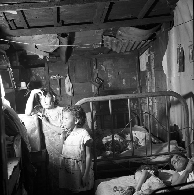 Interior of workers shack. Porta de Tierra, San Juan, Puerto Rico; January 1938; photo by Edwin Rosskam