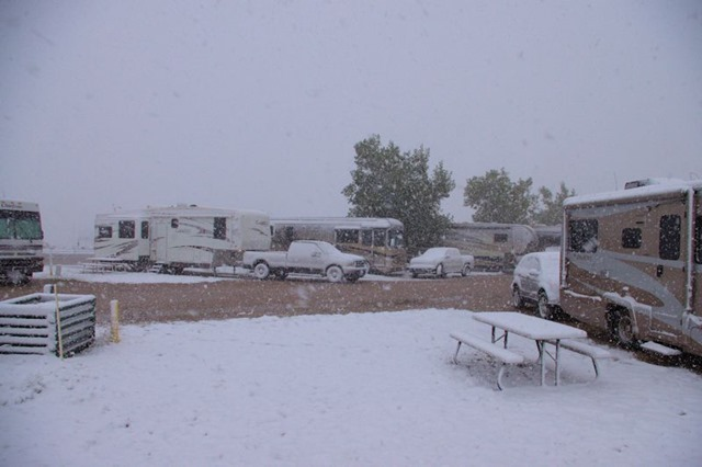 Early winter storm in Bar Nunn, Wyoming (near Casper), September 11, 2014