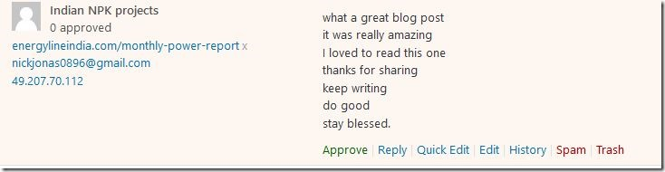 7 meaningless sentiments in one spam comment! : what a great blog post – it was really amazing – I loved to read this one – thanks for sharing – keep writing – do good – stay blessed.