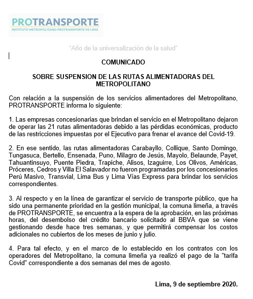 Comunicado de Protransporte.