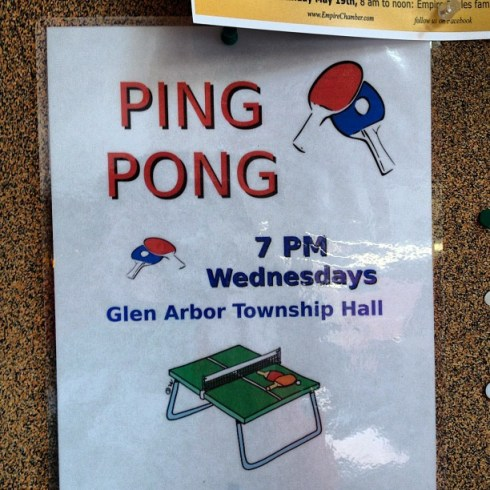 Ping pong, 7PM Wednesday.