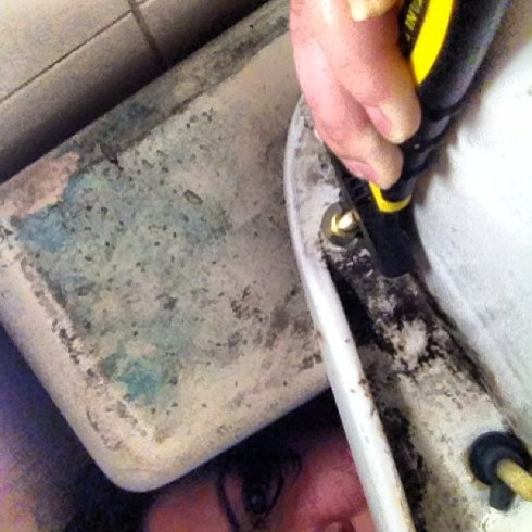 I used the reverse camera function to guide where to hold the wrench while TheHusband tightened bolts in the toliet tank. #realmarriage