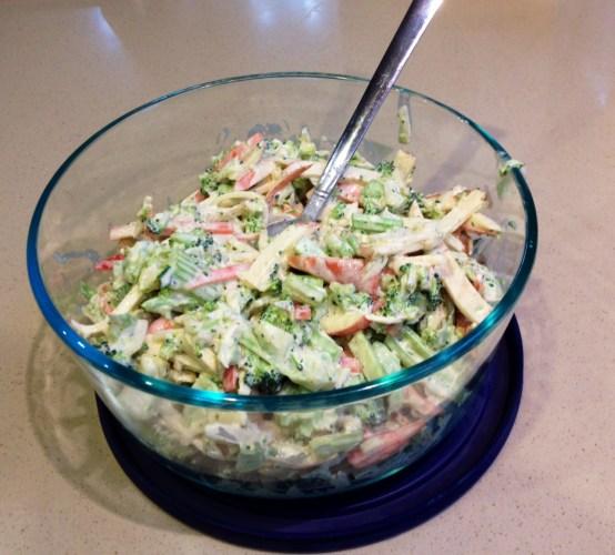 Shredded broccoli and carrot salad.