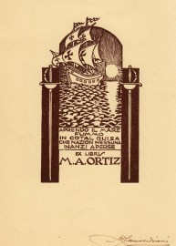 Alberto Zanverdiani. Ex libris para M. A. Ortiz.