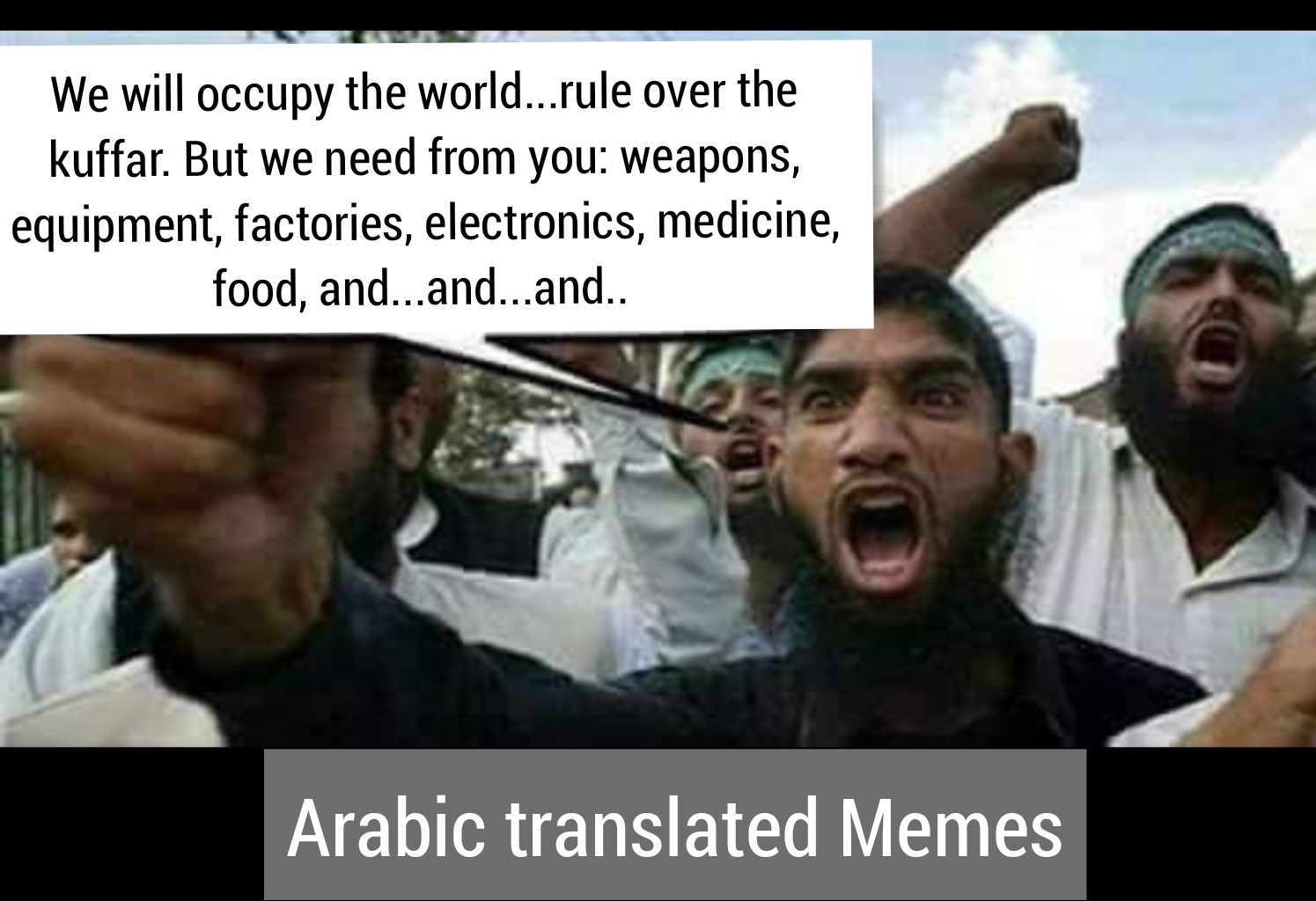 Islamist thinking weapons factories, electronics medicine food technology expand logic satire