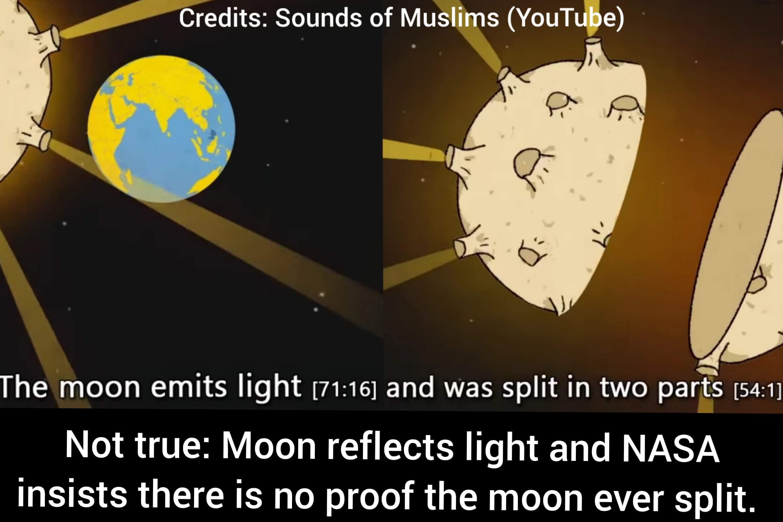 scientific error in the quran moon emits lights splitting split NASA sounds of Muslims YouTube