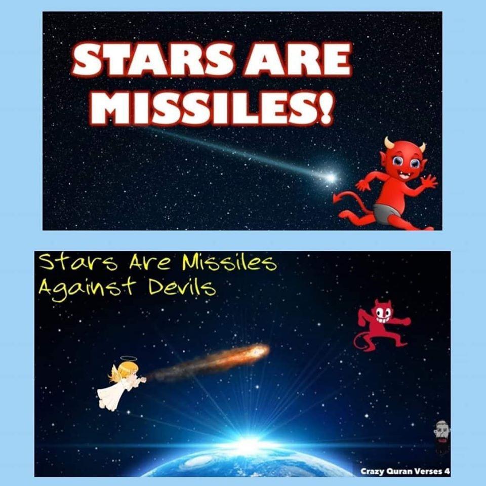 scientific error quran meteors stars comets cosmology allah throws stones on devil