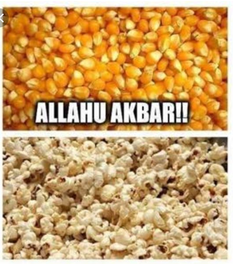 popcorn popped funny Allahu Akbar God is Great