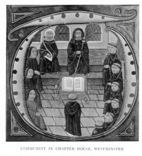 [Illustration: Community in Chapter House, Westminister]