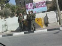 04. Palestinian soldiers protecting Israeli watch tower near Rachel's tomb
