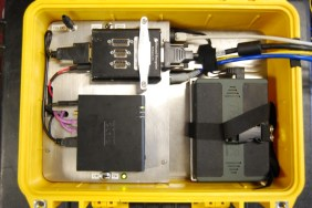 AUPE2 control case. Showing PTU control electronics (top left), FitPC (Bottom left), LiPO battery (right)