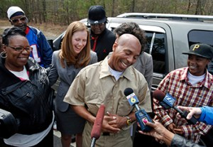 Thomas Haynesworth after being released from prison in March. DNA proved he did not commit two of the rapes he was tried for.