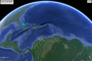 The curve of the Earth: the red arc indicates a distance of 1750 miles (Google Earth)