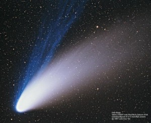 Image of Comet Hale-Bopp taken by Wally Pacholka on April 5, 1997 from the Joshua Tree National Park in California.