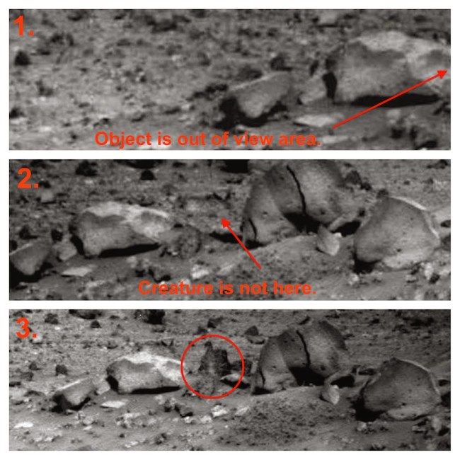 Sequence of three of the five images showing the moving object