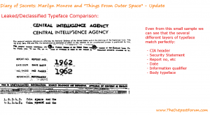 Type face comparison between leaked CIA document and a declassified CIA Information Report. Source: Lee Nicholson