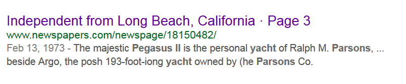 Parsons Pegasus Yacht