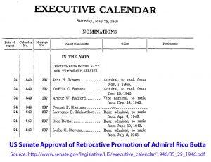 Admiral Botta Retroactive Promotion