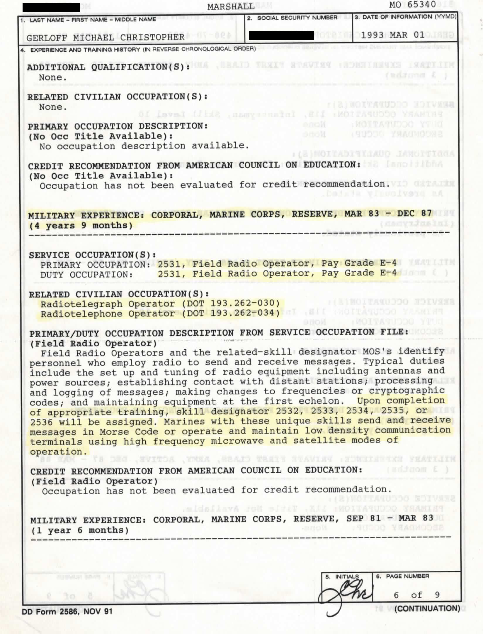 Anomalies in Military Records Breadcrumbs to Space Marines Service ...