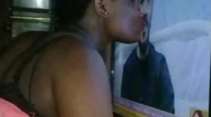 Lady Whose Crazy Over Ozo, Kisses Him Via Her TV Screen