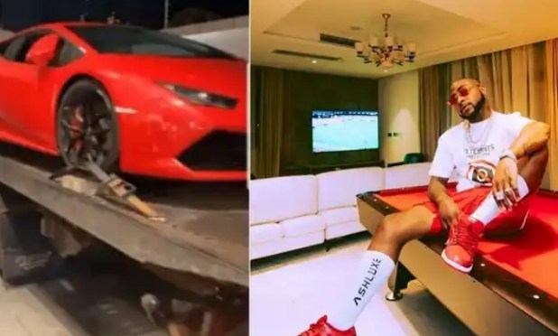 Davido new Lamborghini Huracan worth 200M Delivered at his home (Video)