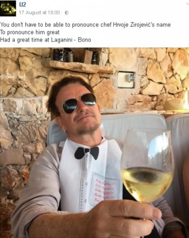 Bono, the lead man from U2, enjoying Croatian wine white.