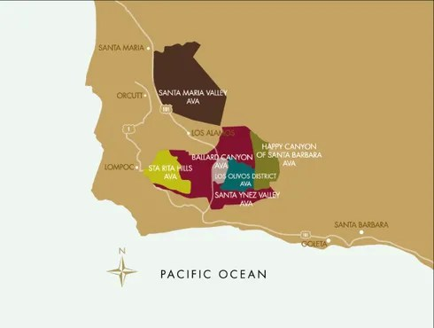 santa barbara county wine tasting map