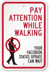 dont walk and facebook sign