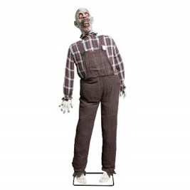 Life Size Stand Up Farmer Zombie Animated Rocking Moving Torso Prop Decoration