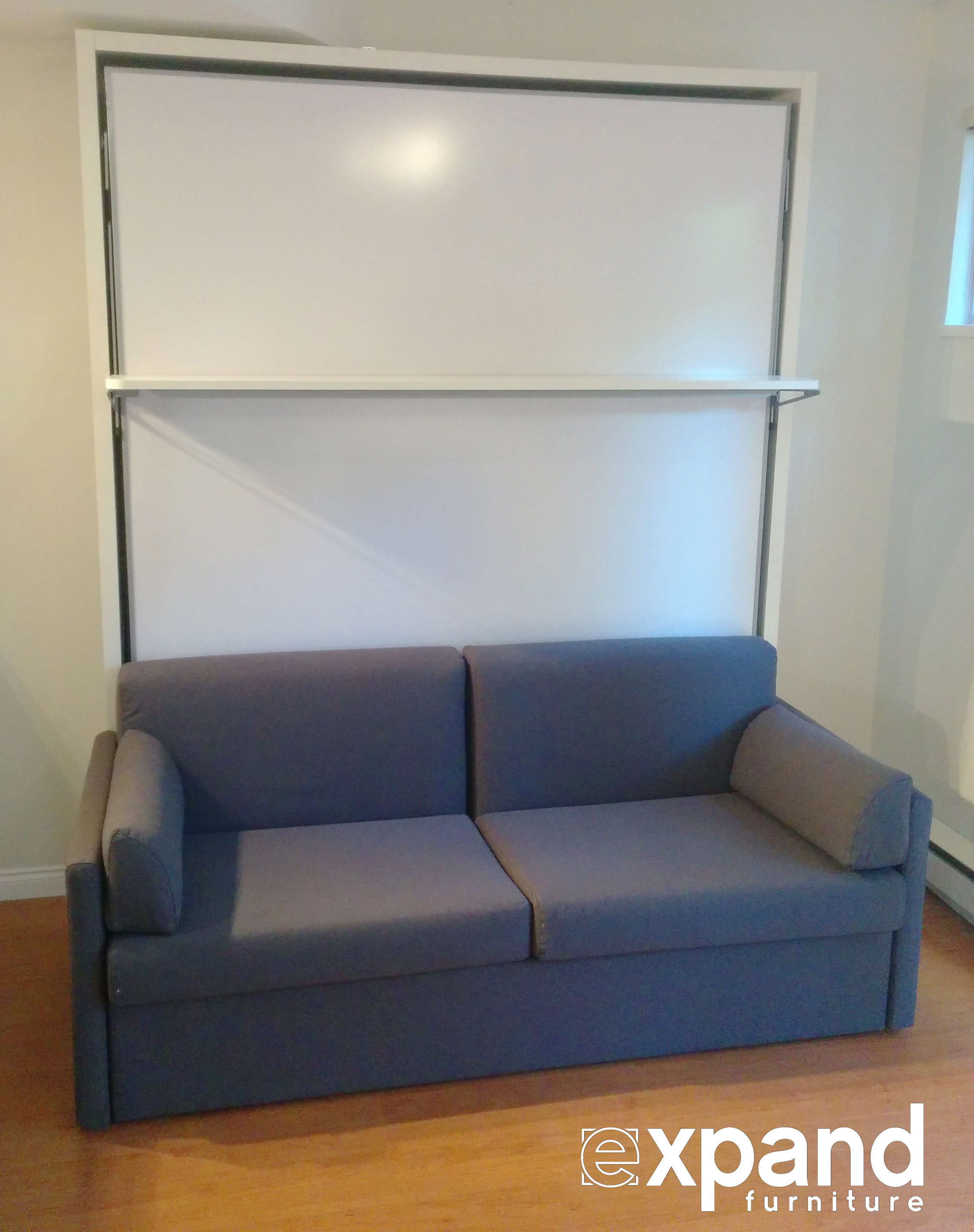 diy murphy bed over sofa lc5 compatto with floating shelf