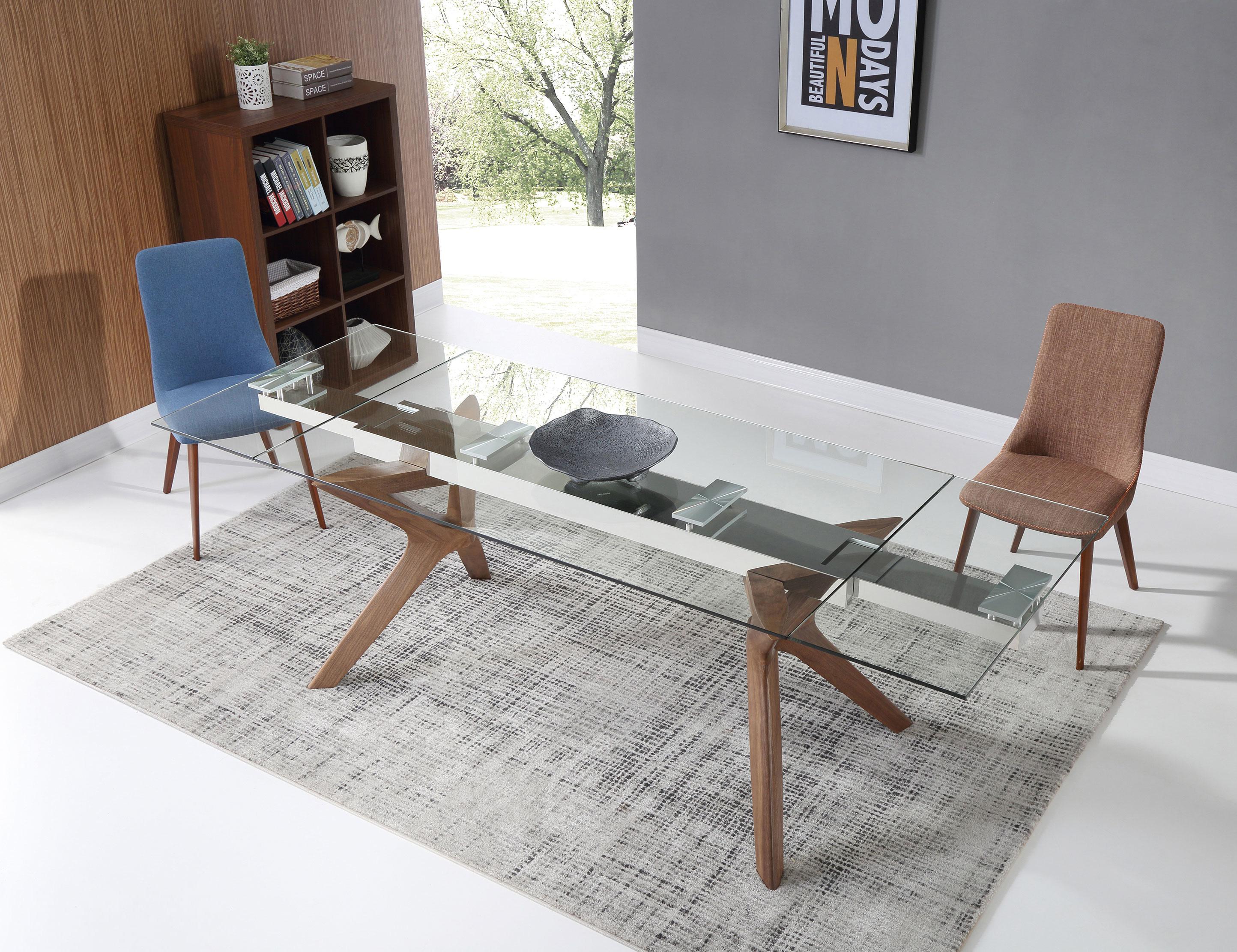 The Bridge Clear Glass Rectangular Extendable Table