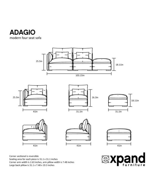interchangeable sectional sofa bed with storage couch online india adagio: modern 3 seat | expand furniture - folding ...