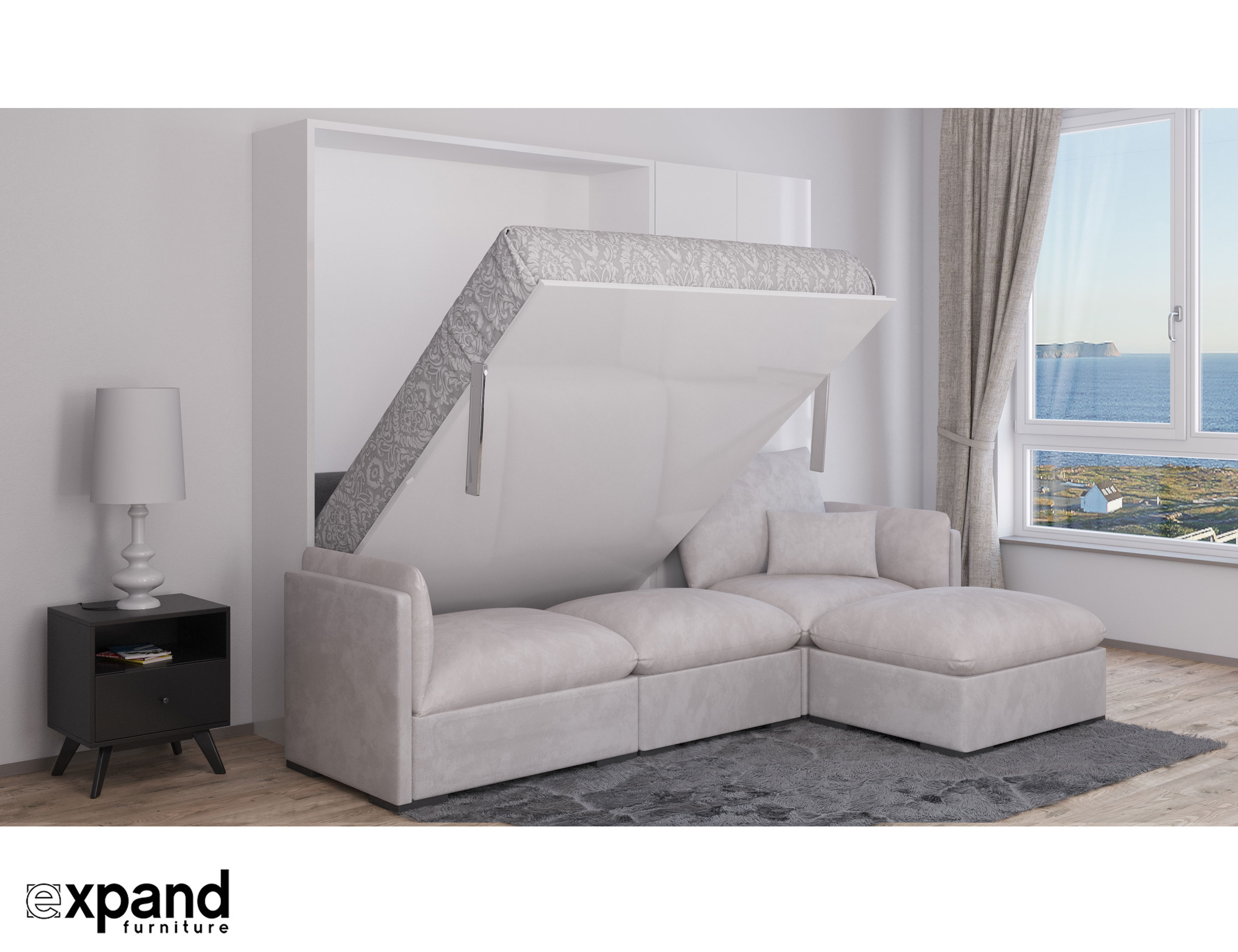 sofa murphy bed combination how to make armless slipcover murphysofa adagio queen luxury sectional wall