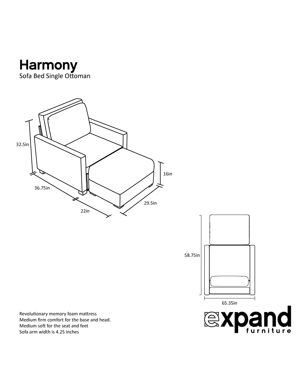 folding ottoman single sofa bed review modern furniture design harmony with memory foam expand tables smarter wall beds space savers
