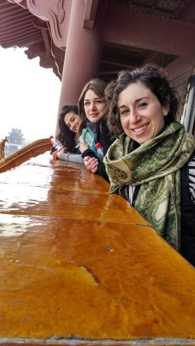Alice Bacani, Kelly Hurlburt, and Tammy Carrasco at Yellow Crane Tower. Photo by Leisa DeCarlo.