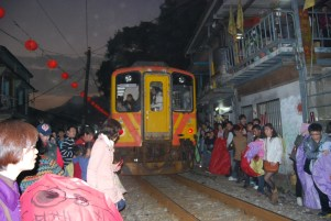 A train crossed during festival, watch out!!