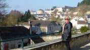 Louise at Clos de Lucé with Amboise in the background