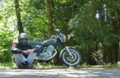 Sally Rae (my motorcycle) in tranquil Oregon woods