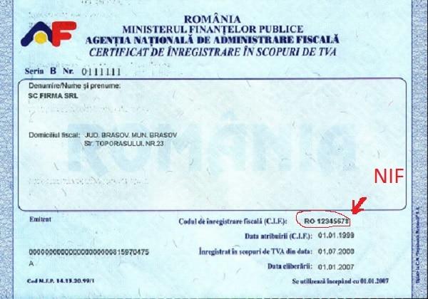 număr de identificare fiscală_Specimen NIF