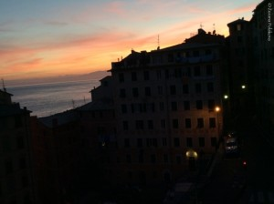 red sky in Camogli