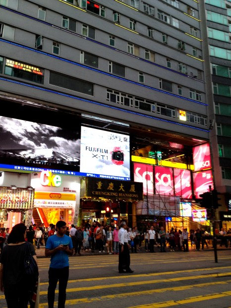 Exterior of Chungking Mansions from across Nathan Road