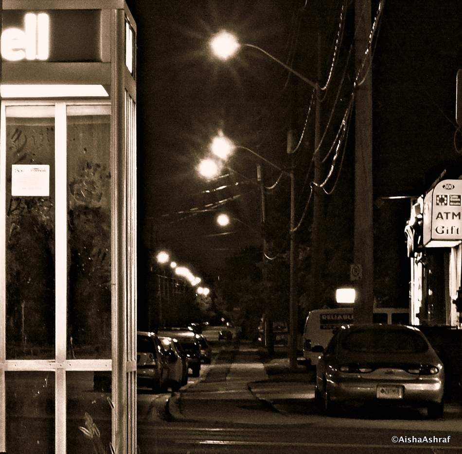 Telephone box on Whitby street at night