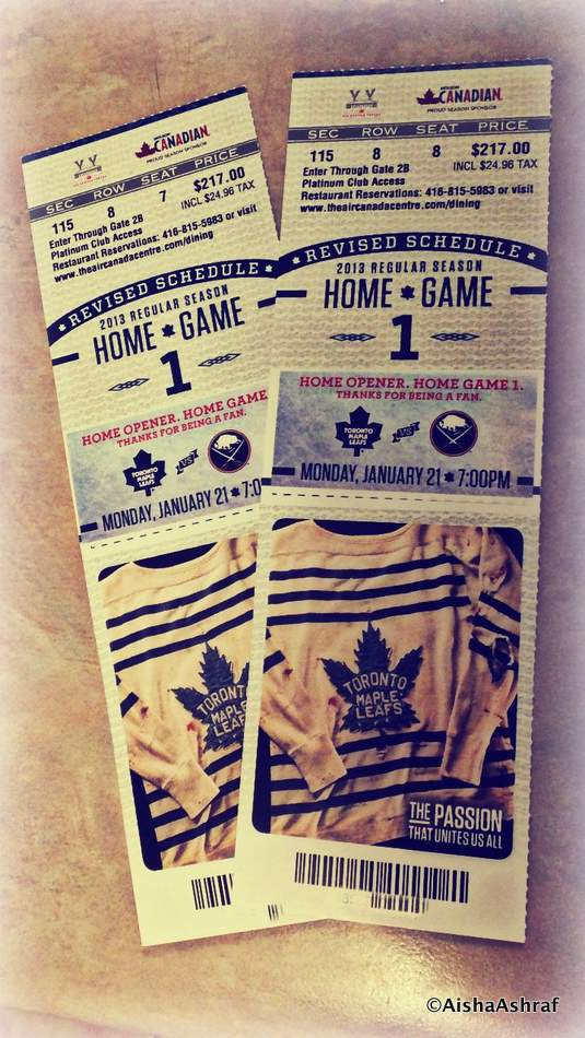 Tickets to the LeafsvsSabres