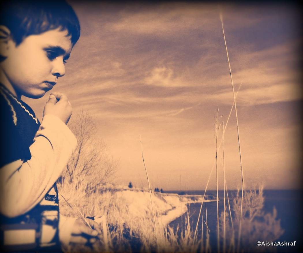 Small boy staring out over Lake Ontario