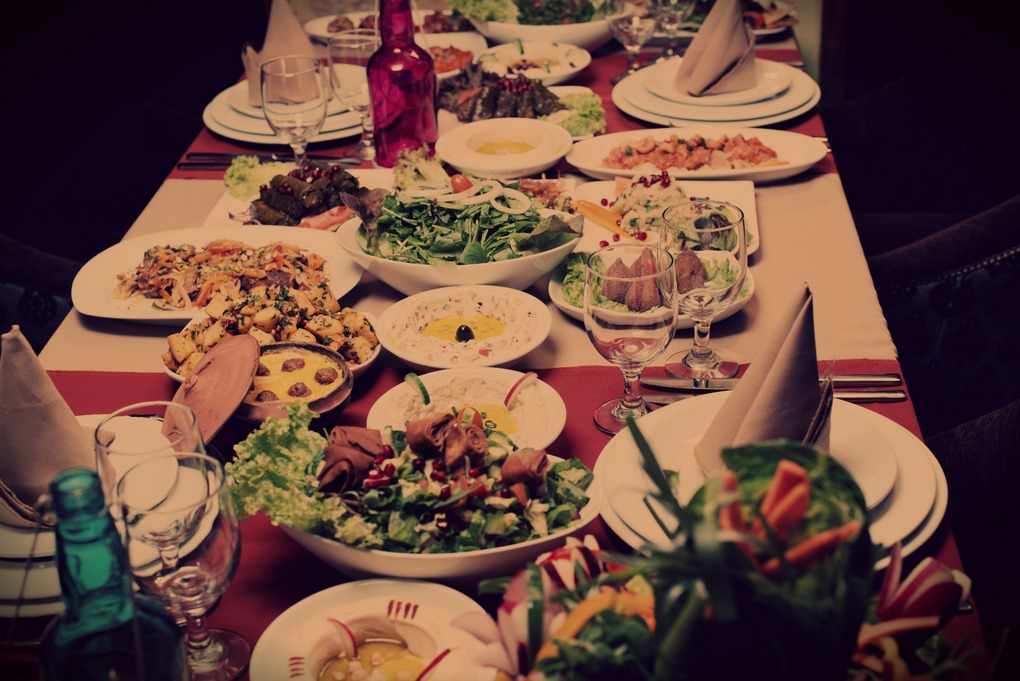 Table with various arabic food served