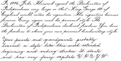 criteria for grading penmanship handwriting or cursive