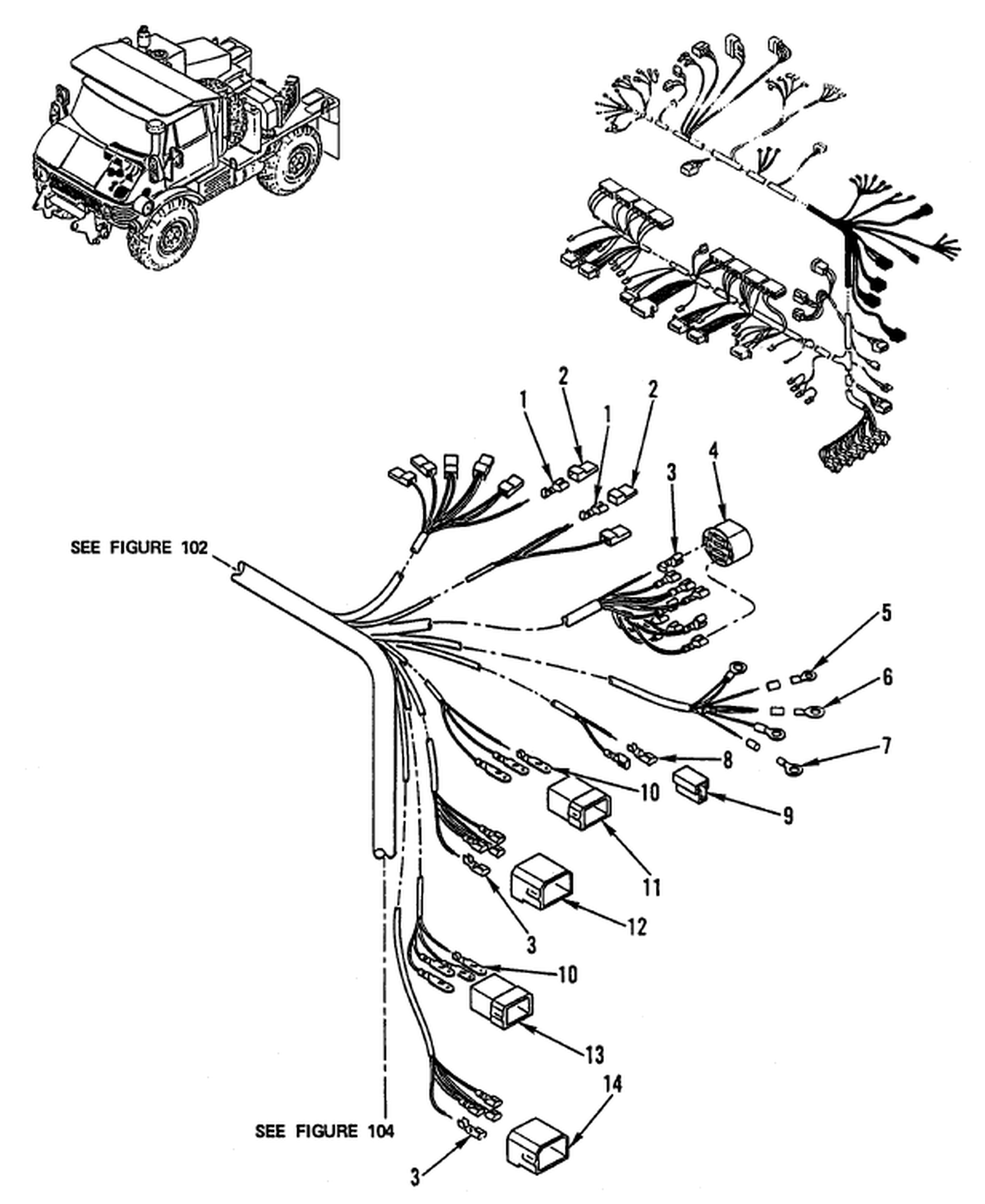 0104 00-2 Figure 103. Hull or Chassis Wiring Harness